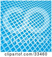 Pattern Of White Square Grids Over A Blue Background by elaineitalia