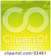 Clipart Illustration Of A Gradient Green And Yellow Grunge Background With Splatters And Dots