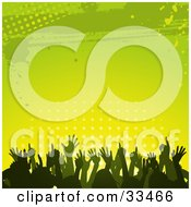 Clipart Illustration Of A Silhouetted Crowd Dancing And Having Fun Against A Gradient Green And Yellow Background Of Dots And Grunge by elaineitalia
