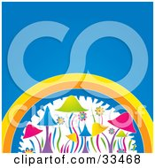Clipart Illustration Of A Funky Colorful Flowers And Mushrooms Under A Rainbow On A Blue Background