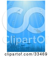 Clipart Illustration Of An Underwater Scene Of Silhouetted Fish And Grass With Bubbles And Rays Of Sunlight In Blue Tones