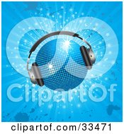 Clipart Illustration Of A Sparkling Blue Disco Ball Wearing Headphones Over A Sparkling Blue Grunge Background
