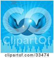 Clipart Illustration Of A Sparkling Blue Disco Ball With Wings Over A Bursting Blue Background With Grunge Splatters And Equalizer Bars