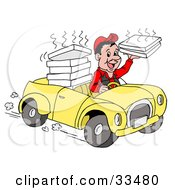 Friendly Pizza Delivery Boy Driving A Yellow Car And Holding A Steamy Pizza Box