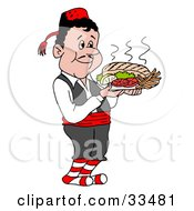 Clipart Illustration Of A Pleasant Greek Waitor Serving A Platter Of Souvlaki