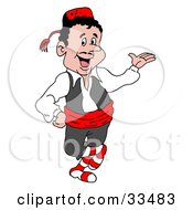 Clipart Illustration Of A Friendly Waiter In Uniform Holding One Hand Out At A Greek Restaurant