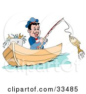 Happy Greek Fisherman In A Boat Reeling In A Fish On A Hook