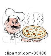 Clipart Illustration Of A Pleasant Chef In A Hat Holding A Steaming Pepperoni Pizza Pie by LaffToon