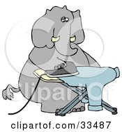 Humanlike Elephant Ironing A Shirt On An Ironing Board On A White Background