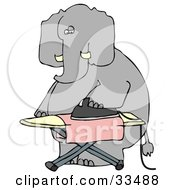 Humanlike Elephant Ironing A Pink Cloth On An Ironing Board On A White Background