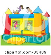 Clipart Illustration Of Boys And Girls Jumping In A Colorful Inflatable Bouncy Castle On Grass