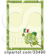 Clipart Illustration Of A St Paddys Day Clover Wearing A Hat Carrying A Cane And Flag In The Corner Of A Stationery Background Or Blank Menu by Hit Toon