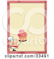 Clipart Illustration Of A Proud Cake Chef In The Corner Of A Stationery Background Or Blank Menu