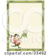 Clipart Illustration Of A St Paddys Day Leprechaun Running With A Beer And Flag In The Corner Of A Stationery Background Or Blank Menu