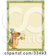Clipart Illustration Of A St Paddys Day Bear With A Frothy Beer In The Corner Of A Stationery Background Or Blank Menu