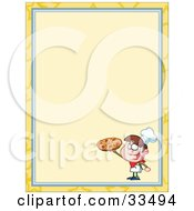 Clipart Illustration Of A Pizza Boy Holding Up A Pepperoni Pie In The Corner Of A Stationery Background Or Blank Menu by Hit Toon