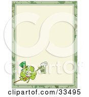 Clipart Illustration Of A St Paddys Day Clover Wearing A Hat And Holding Up A Beer In The Corner Of A Stationery Background Or Blank Menu by Hit Toon