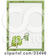 Clipart Illustration Of A St Paddys Day Clover Carrying A Cane And Holding Up A Beer In The Corner Of A Stationery Background Or Blank Menu