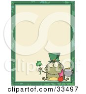 Clipart Illustration Of A St Paddys Day Frog With A Clover Hat And Pot Of Gold In The Corner Of A Stationery Background Or Blank Menu by Hit Toon