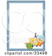 Clipart Illustration Of A Bee Carrying A Birthday Present In The Corner Of A Stationery Background Or Blank Menu