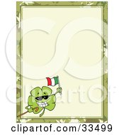 Clipart Illustration Of A St Paddys Day Clover Wearing Sunglasses Carrying A Cane And Holding Up A Beer In The Corner Of A Stationery Background Or Blank Menu