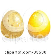 Two Disco Easter Eggs One Gold And One Yellow With Shadows