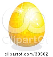 Clipart Illustration Of A Sparkling Yellow Disco Easter Egg