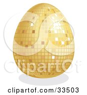 Clipart Illustration Of A Sparkling Golden Disco Easter Egg