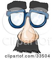 Clipart Illustration Of A Pair Of Blue Disguise Glasses With Hairy Eyebrows A Nose And Mustache