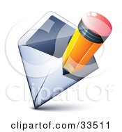 Clipart Illustration Of A Yellow Pencil Over An Open Envelope by beboy