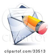 Clipart Illustration Of A Yellow Pencil Writing On A Paper In An Open Envelope by beboy