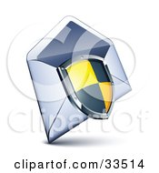 Clipart Illustration Of A Black And Yellow Checkered Shield Over An Open Envelope by beboy
