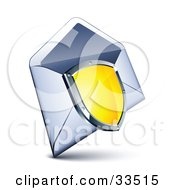 Clipart Illustration Of A Shiny Yellow Shield With A Chrome Frame Over An Open Envelope by beboy
