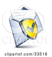 Check Mark On A Yellow Shield Over A Letter In An Open Envelope