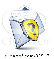 Clipart Illustration Of A Question Mark On A Yellow Shield Over An Envelope With A Letter by beboy
