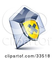 Clipart Illustration Of An X On A Yellow Shield Over An Open Envelope by beboy