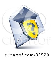 Clipart Illustration Of A Question Mark On A Yellow Shield Over An Open Envelope by beboy