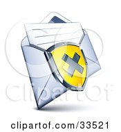Clipart Illustration Of An X On A Yellow Shield Over An Open Envelope With A Letter by beboy