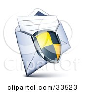 Clipart Illustration Of A Black And Yellow Checkered Shield Over A Letter In An Open Envelope