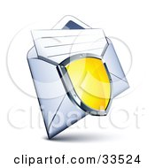 Clipart Illustration Of A Shiny Yellow Shield With A Chrome Frame Over An Open Envelope With A Letter by beboy
