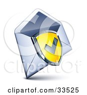 Clipart Illustration Of A Check Mark On A Yellow Shield Over An Open Envelope by beboy