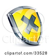 Clipart Illustration Of An X On A Yellow Shield by beboy
