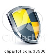 Clipart Illustration Of A Black And Yellow Checkered Shield by beboy