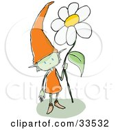 Friendly Green Gnome Wearing An Orange Dress And A Tall Pointy Hat Holding A White Daisy Flower