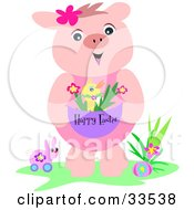 Friendly Pink Piggy With Toys Standing By An Easter Egg And Holding A Chick In An Easter Basket