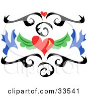 Clipart Illustration Of A Scrolled Black Tattoo Design With Red Hearts And Blue Birds by bpearth