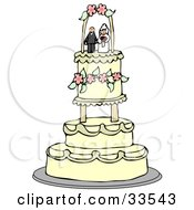 Bride And Groom Wedding Cake Topper Resting On The Upper Tier Of A Fancy Beige Floral Cake