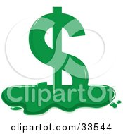 Clipart Illustration Of A Melting Green Dollar Sign