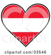 Clipart Illustration Of A Heart Shaped Austrian Flag With Red And White Horizontal Stripes