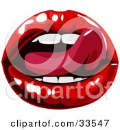 Clipart Illustration Of A Sexy Womans Tongue Licking Her Luscious Red Lips by AtStockIllustration